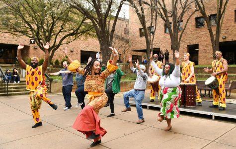 Dancers in courtyard