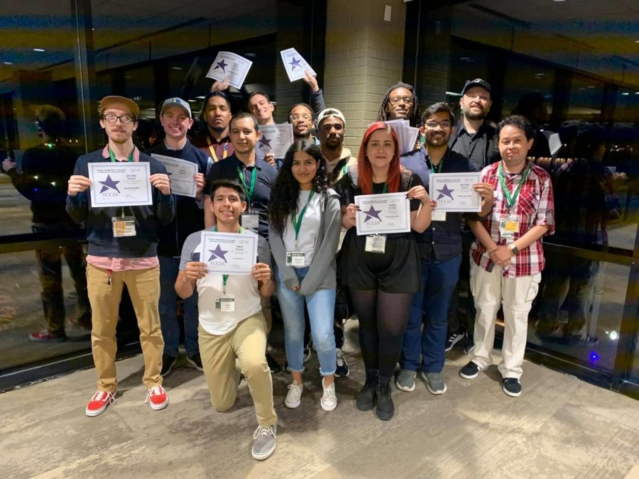 Courier staffers and contributors pose for a photo at Baylor University during the Texas Community College Journalism Association convention in 2019.
