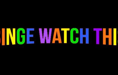 Binge Watch This logo in rainbow