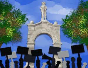 Illustration of protest in front of Confederate Soldier Monument.