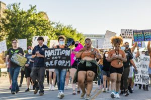 Our Path Forward activist Tulla Moore And Desteny Edwards leading peaceful protest march.