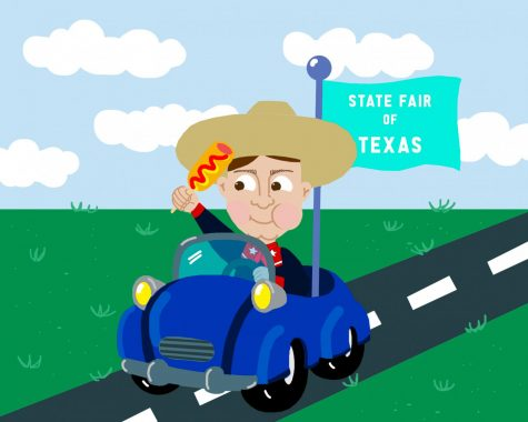 illustration of State fair Big Tex in a car