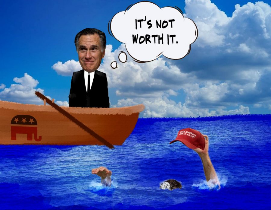 image of a gaga person growing and mitt Romney on a boat