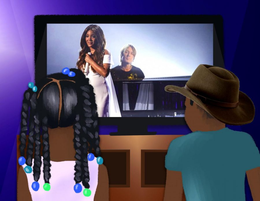 Illustration of two Black children watching the ACMA performance of Mikey Guyton