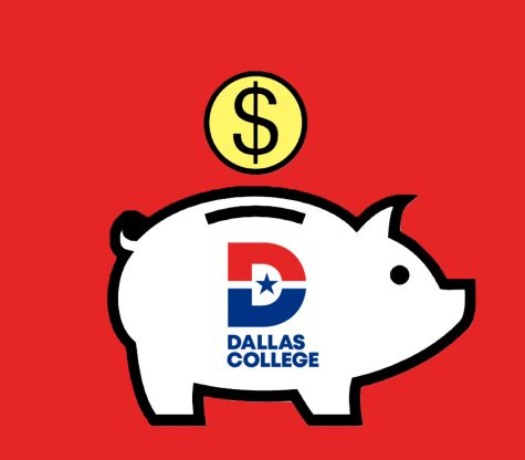 Illustration of piggy bank with Dallas College logo