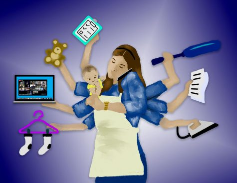 illustration of busy parent