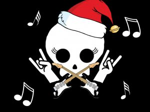 graphic showing punk rock Christmas themes