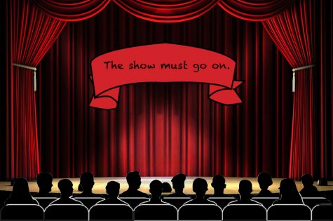 graphic for the show must go on showing audience in a theatre