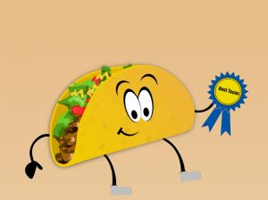 graphic of taco with award