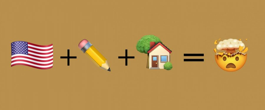 flag, pencil, house and mental stress emoji