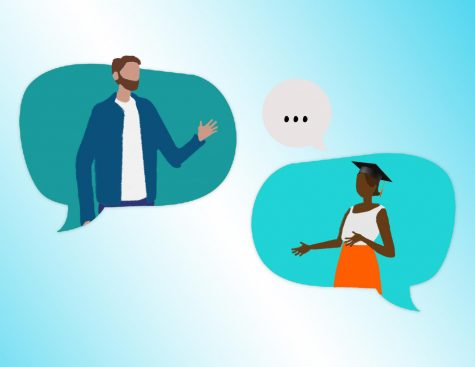 Illustration of two people talking one has a cap and gown