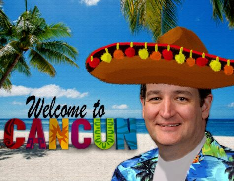 Illustration of Ted Cruz next to Welcome to Cancun sign