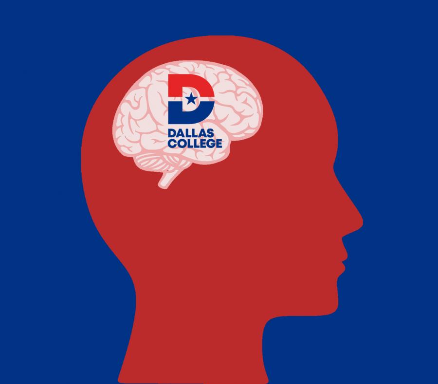 illustration of brain and Dallas College logo