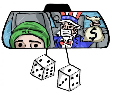 Illustration of a rearview mirror where you see Uncle Sam with money bag in back seat