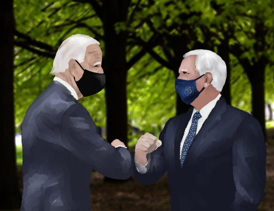 illustration of Biden and pence bumping elbows