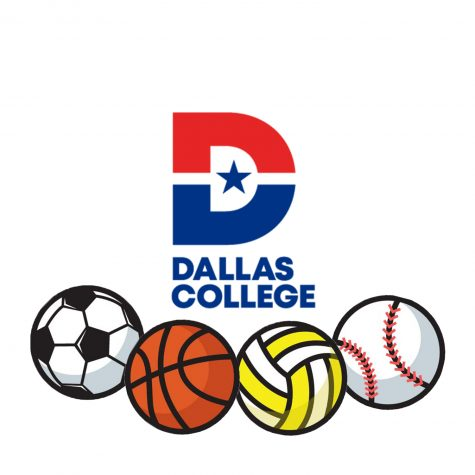 Illustration of sports balls below Dallas College logo