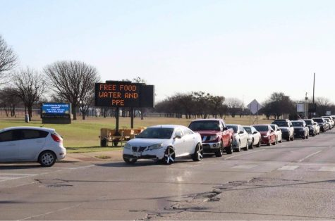 photo of cars in line to receive food