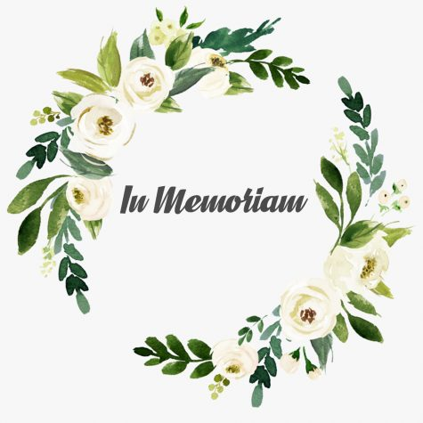 Illustration of wreath with words in memoriam