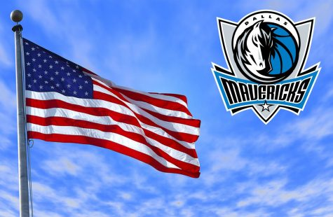 illustration of US flag and Mavericks logo
