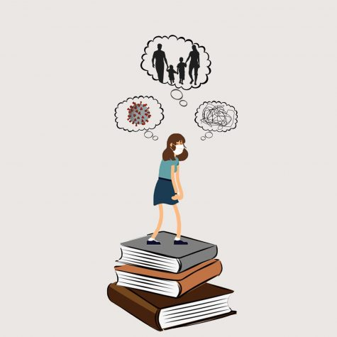 Illustration of Student on stack of books with various worry bubbles