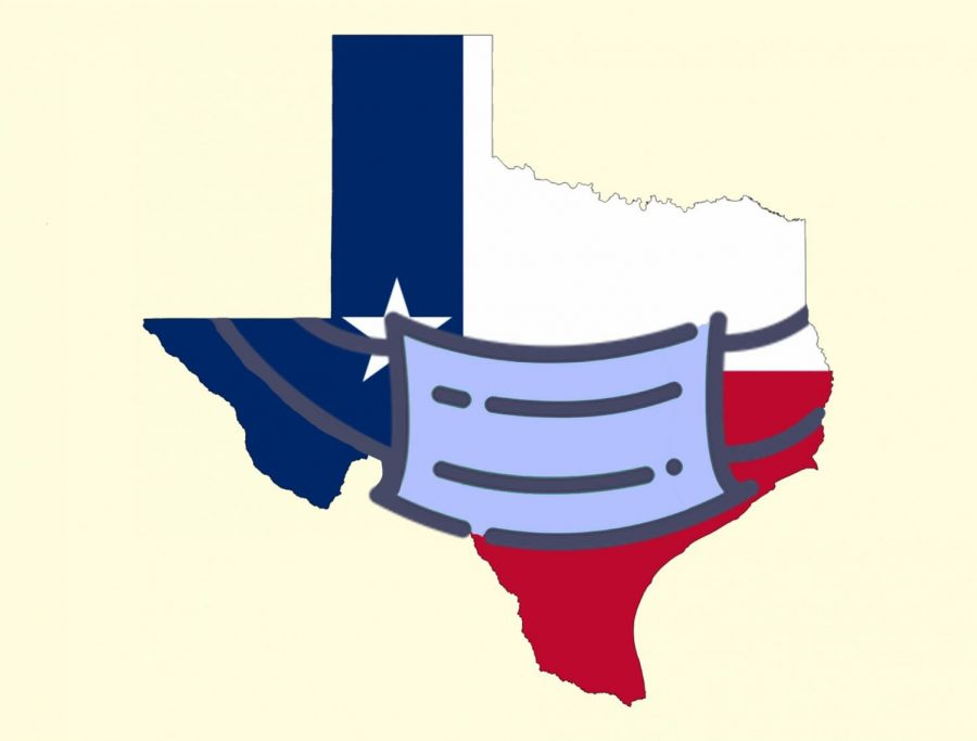 Illustration of state of Texas with a mask on it