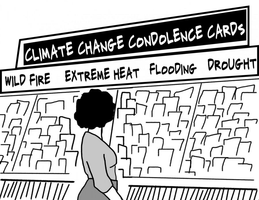 Illustration of someone in greeting card aisle with new climate change condolence cards
