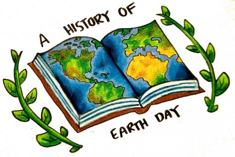Illustration of book with world and words a history of earth day