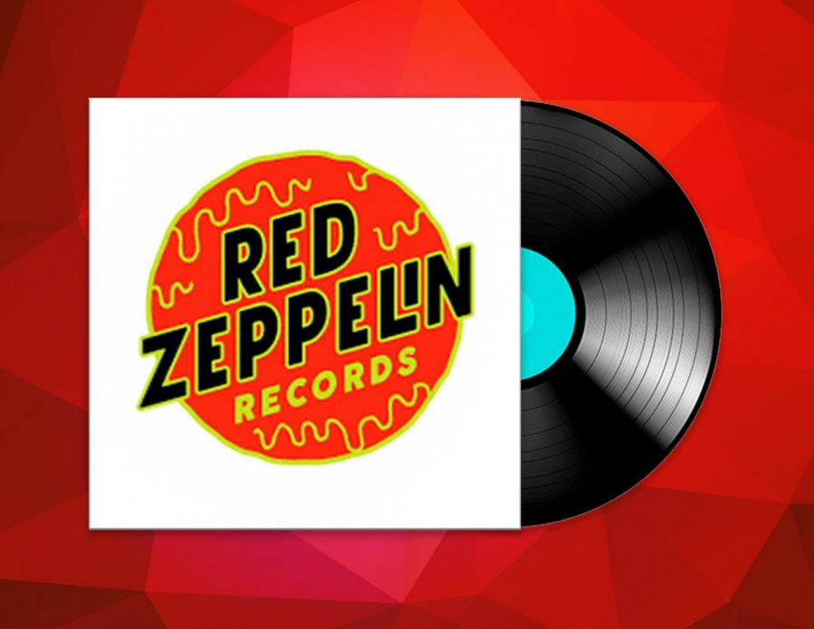 Illustration of Red Zeppelin logo with record