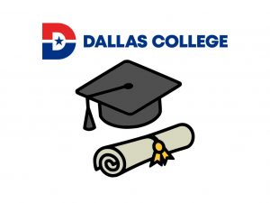 Illustration of Dallas College logo and cap and diploma