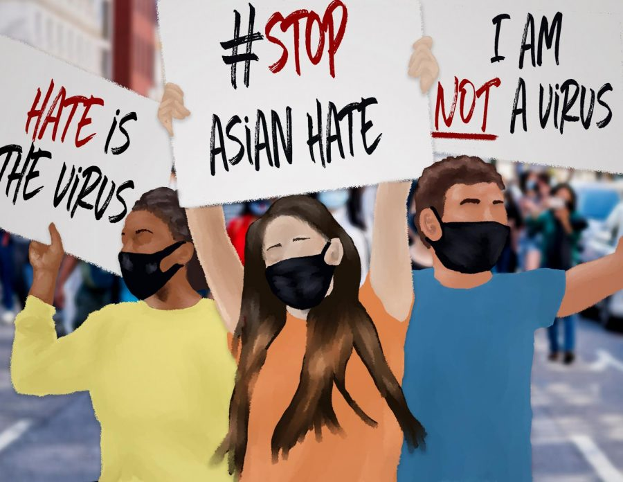 Illustration of people holding signs that say stop asian hate