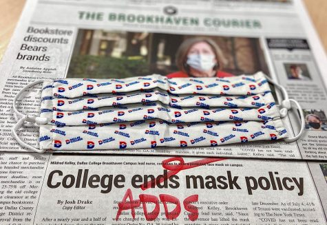 photo of newspaper with mask and edited word adds to mask policy headline