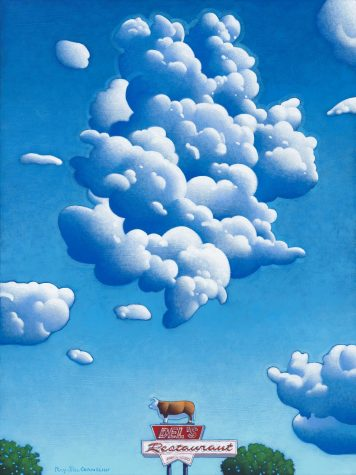 Ray-Mel Cornelius illustration of clouds and diner sign