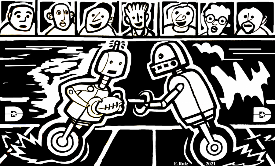 drawing of two robots playing while spectators watch
